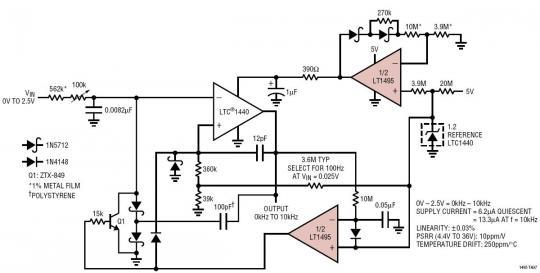 13μa,0khz 至 10khz 电压至频率转换器