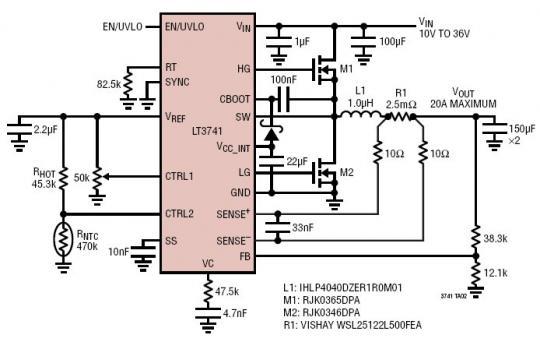 - 2V) 的宽输出电压范围内保持电感器电流调节作用。已调电流由 CTRL 引脚上的一个模拟电压和一个外部检测电阻器来设定。LT3741 运用了一种独特的拓扑结构,因而能够供应和吸收电流。已调电压和过压保护功能电路利用一个连接在输出端和 FB 引脚之间的分压器来设定。开关频率可通过一个外部电阻器或利用一个外部时钟信号在 200kHz 至 1MHz 的范围内进行设置。