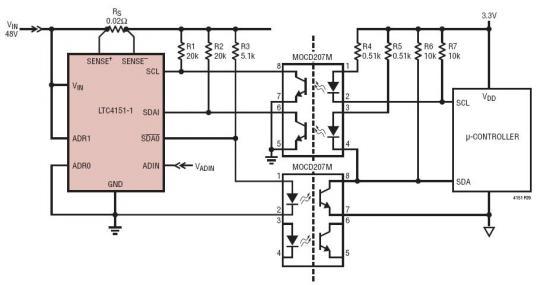 具光隔离串行接口的 48V 电源监视器