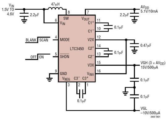 5.1V、-10V、15V 三路输出 TFT-LCD 电源