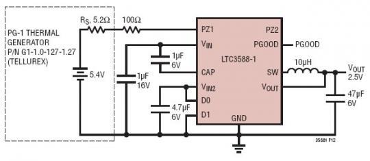 5.4V 至 2.5V 热电能量收集器