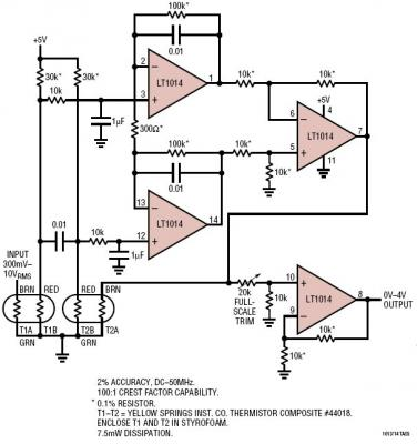 采用5v 电源的 50mhz 热敏电阻 rms 至 dc 转换器