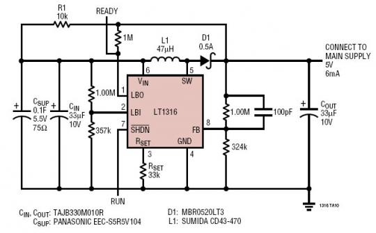 可提供 5V/6mA 输出并持续 9.6s 的超级电容器后备电源