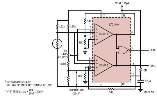 5V 电源供电的热敏电阻加热 / 冷却自动温度调节器