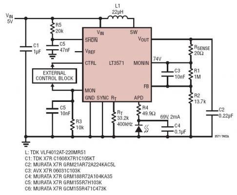 具软起动功能的 5V 至 69V 低噪声 APD 偏置电源