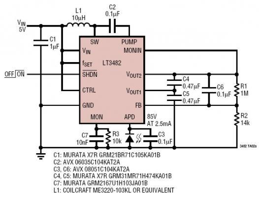 5V 至 85V 低噪声 APD 偏置电源