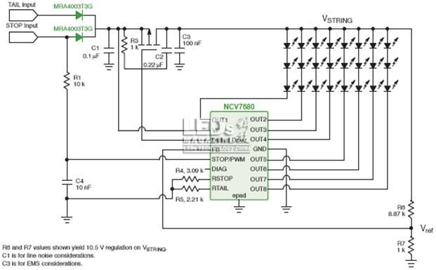 制动信号灯的简化电路图