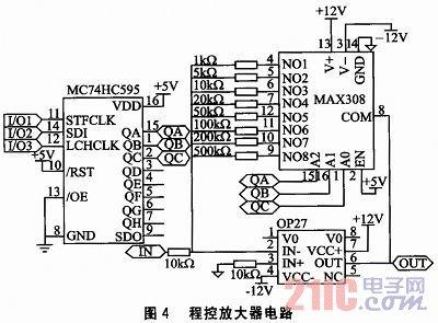 如图4所示,程控放大器电路主要由低噪声精密运放op27和8选1模拟