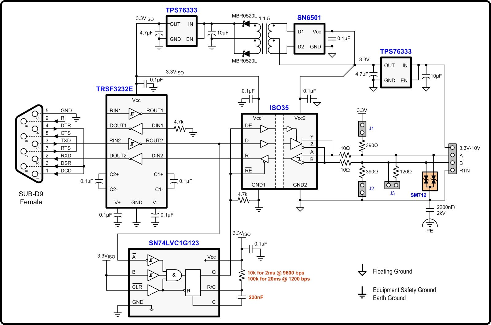 这些高压总线信号再通过另一个rs-232芯片转换回标准逻辑电平,以同rs