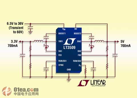 凌力尔特推出双通道电流模式pwm降压型dc/dc转换器lt3509