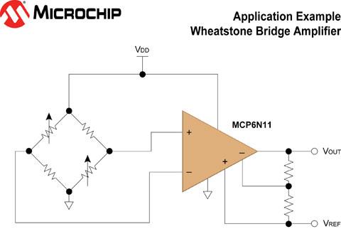 microchip的mcp6n11惠斯登电桥参考设计