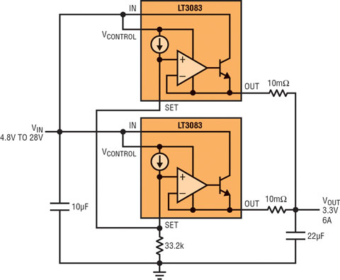 3a 线性稳压器可非常容易地并联以分散功耗和热量