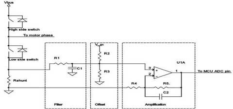 马达控制三相变频器中相电流shunt 检测电路设计